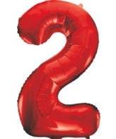 Balão Grande Número 2 Vermelho 34″