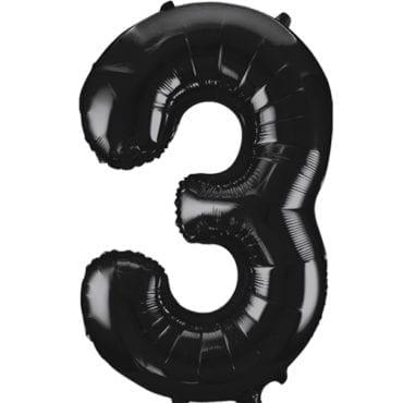 Balão Grande Número 3 Preto 34″