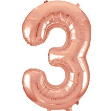 Balão Grande Número 3 Rose Gold 34″