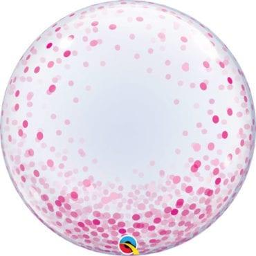 Balão Deco Bubble Confettis Rosa 24″