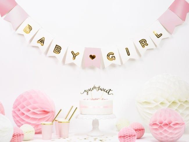 """Banner """"Baby Girl"""" Rosa"""