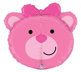 Balão Cabeça 3D Urso Rosa 27″