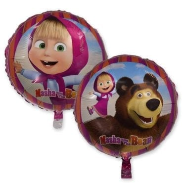 """Balão Masha e o Urso (redondo) 18"""""""