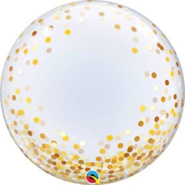 """Balão Deco Bubble Confettis Dourados 24"""""""