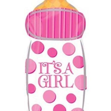 Balão Foil Junior Shape Baby Shower - Biberon It's a Girl