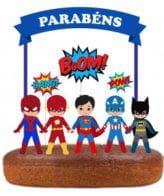 Topo de bolo dos Super Heróis Azul