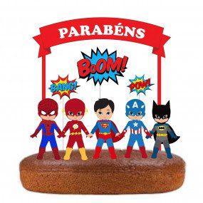 Topo de bolo dos Super Heróis Vermelho