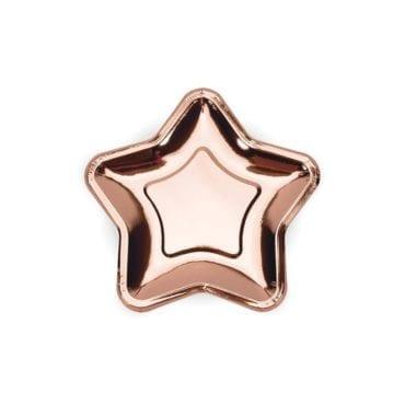 Pratos rose gold em formato estrela (18 cm)