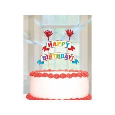 Topo de Bolo Happy Birthday Rainbow