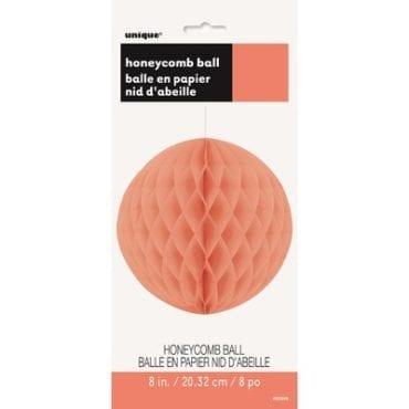 Bola de papel tipo colmeia Coral