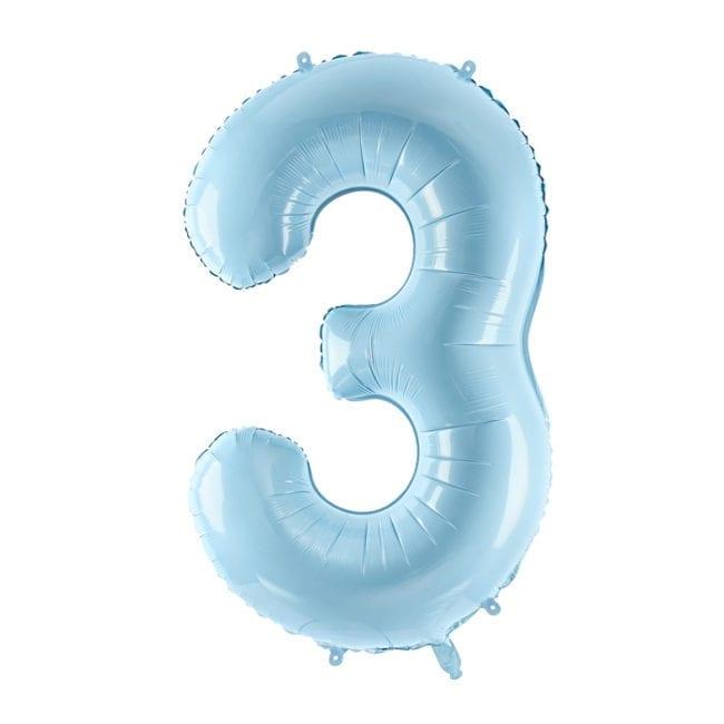 Balão Grande Número 3 Azul Bebé 34″