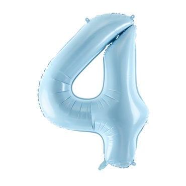 Balão Grande Número 4 Azul Bebé 34″