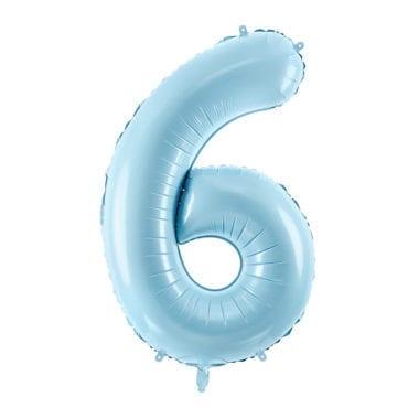 Balão Grande Número 6 Azul Bebé 34″