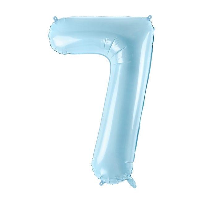 Balão Grande Número 7 Azul Bebé 34″