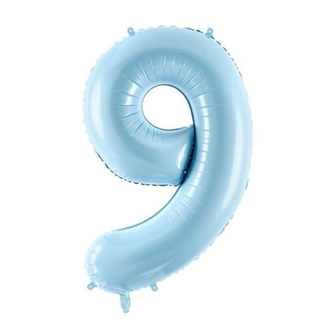 Balão Grande Número 9 Azul Bebé 34″