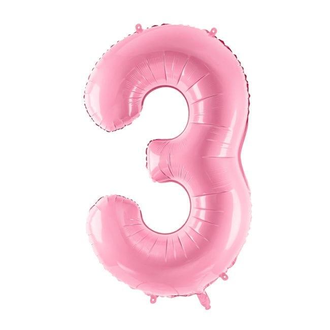 Balão Grande Número 3 Rosa Bebé 34″