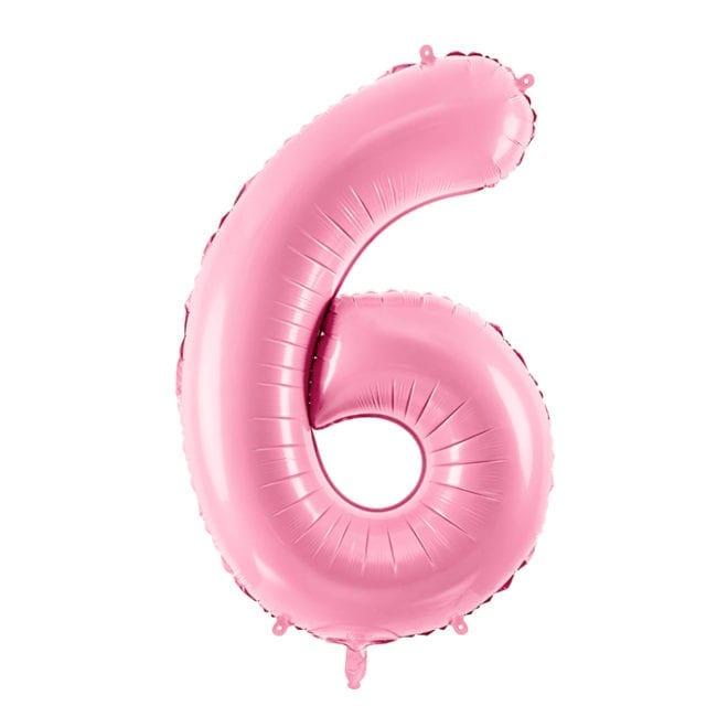 Balão Grande Número 6 Rosa Bebé 34″