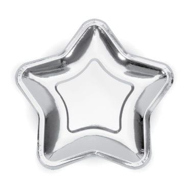 Pratos prata em formato estrela (18 cm)