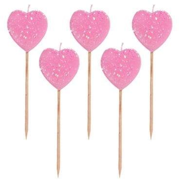Velas Corações Glitter Rosa