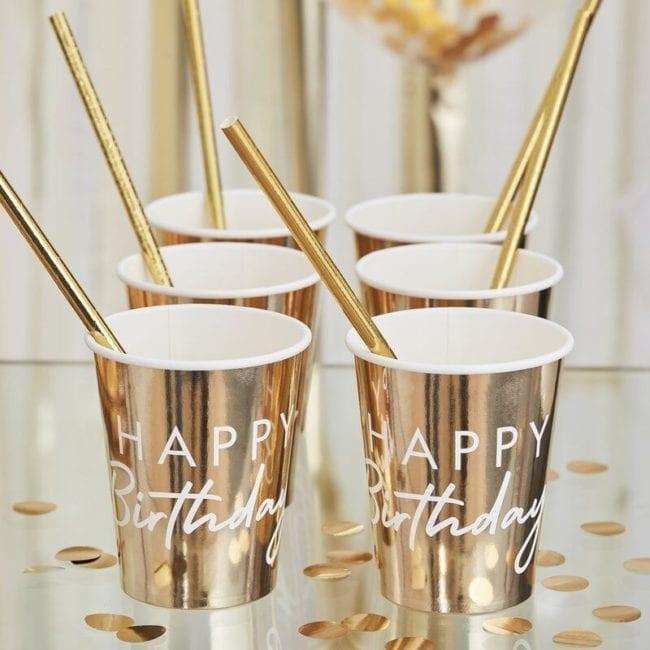 "Copos Foil Dourados ""Happy Birthday"""
