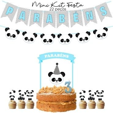 Mini Kit Festa Panda Azul