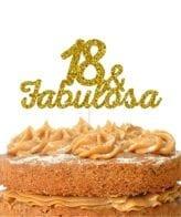Topo de bolo topo18& FABULOSA dourado