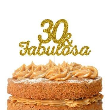 Topo de bolo topo 30 & FABULOSA dourado