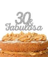Topo de bolo topo 30 & FABULOSA prateado