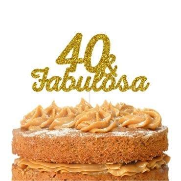 Topo de bolo topo 40 & FABULOSA dourado
