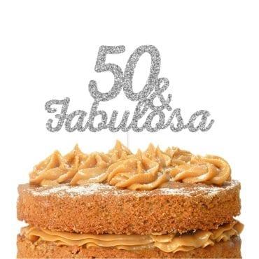Topo de bolo topo 50 & FABULOSA prateado