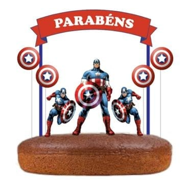 Topo de bolo Capitão América