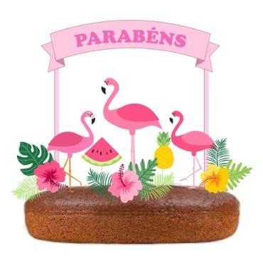 Topo de bolo Flamingos