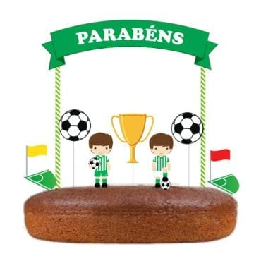 Topo de bolo Futebol Verde