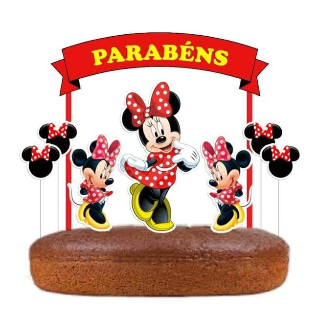 Topo de bolo Minnie Vermelha