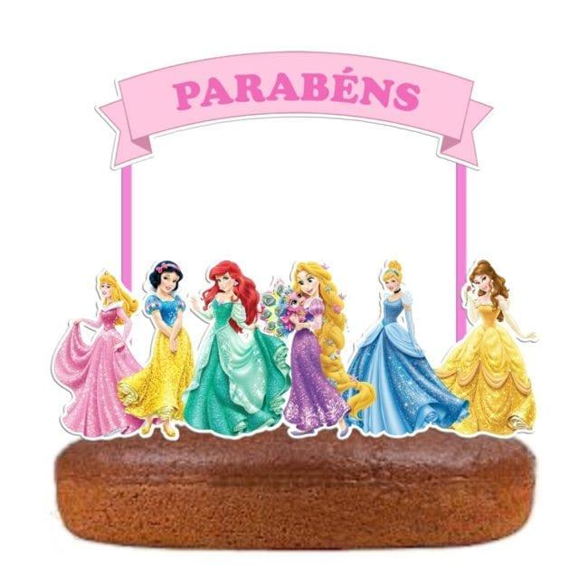 Topo de bolo Princesas