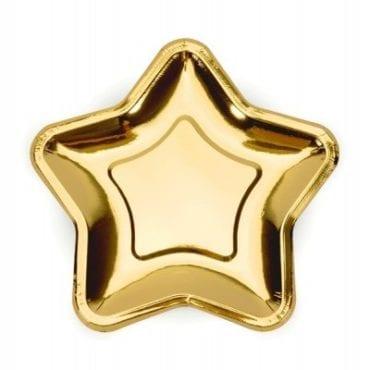 Pratos dourados em formato estrela (23 cm)