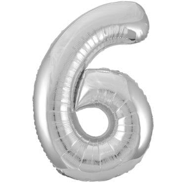 Balão Grande Número 6 Prateado 34″