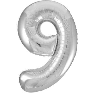 Balão Grande Número 9 Prateado 34″