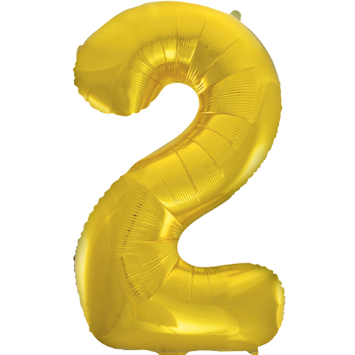 Balão Grande Número 2 Dourado 34″