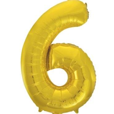 Balão Grande Número 6 Dourado 34″