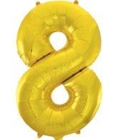 Balão Grande Número 8 Dourado 34″
