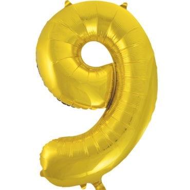 Balão Grande Número 9 Dourado 34″