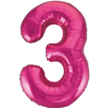 Balão Grande Número 3 Rosa Choque 34″