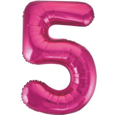 Balão Grande Número 5 Rosa Choque 34″