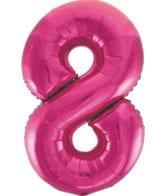 Balão Grande Número 8 Rosa Choque 34″