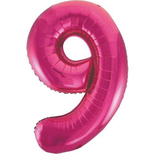 Balão Grande Número 9 Rosa Choque 34″