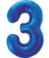 Balão Grande Número 3 Azul Escuro 34″