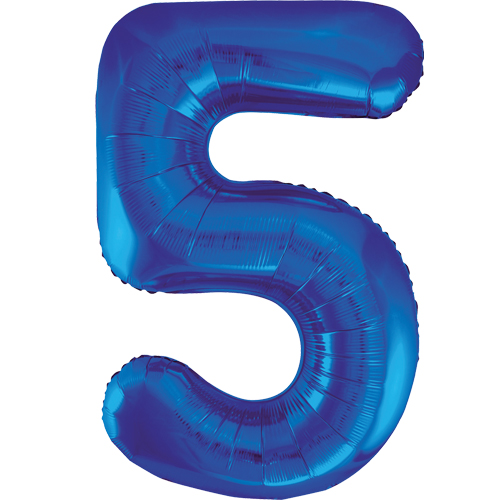 Balão Grande Número 5 Azul Escuro 34″