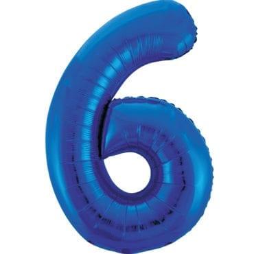 Balão Grande Número 6 Azul Escuro 34″