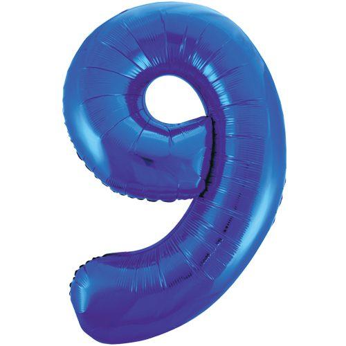 Balão Grande Número 9 Azul Escuro 34″